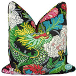chiang mai dragon ebony // dragon pillows // schumacher