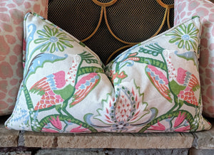 thibaut peacock garden // peacock pillow // bird pillow