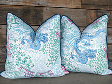 Load image into Gallery viewer, royal multi trend dragon & pagoda with piping // chinoiserie print // dragon pillow