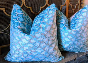 ready to ship // teal velvet animal print pillow // velvet pillow // swagger // blue pillow