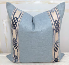 Load image into Gallery viewer, silk like pillow cover with velvet tape // pillows with tape // velvet pillows