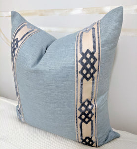 silk like pillow cover with velvet tape // pillows with tape // velvet pillows