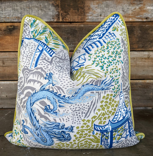 royal multi trend dragon & pagoda with piping // chinoiserie print // dragon pillow