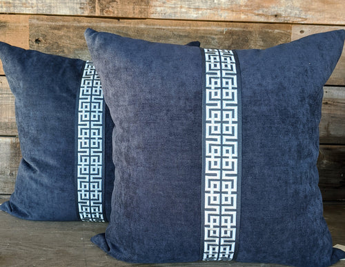 navy velvet with greek key tape // blue velvet // greek key // trim