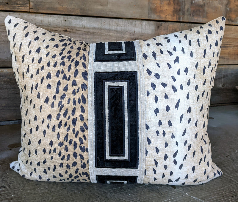 classic black antelope pillow cover // blush deer pillow cover // deer pillow // velvet tape