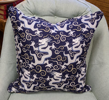 Load image into Gallery viewer, Ready to ship // f schumacher bixi blue // dragon pillow // chinoiserie pillow // tiger pillow  // mandarin brights