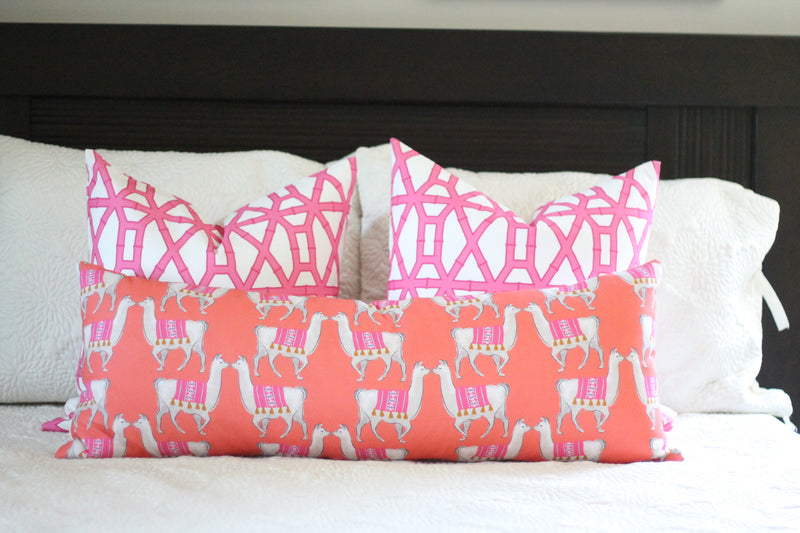 blue bamboo print pillow cover // pink // cb studio