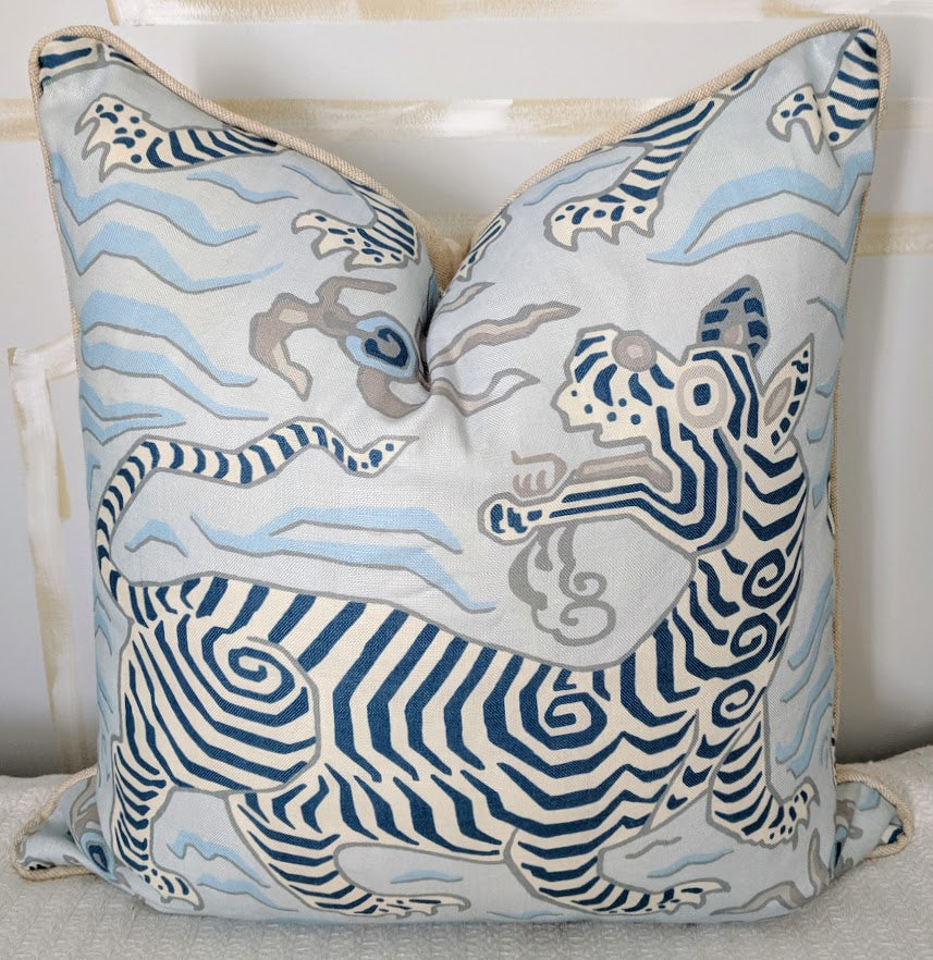 clarence house tibet tiger blue // designer fabric // blue pillow