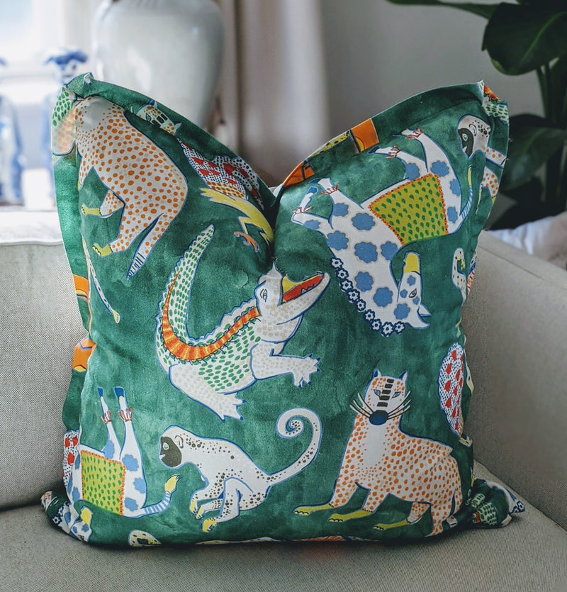 Modern Menagerie Pleated Pillow Cover, Front Only