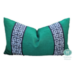 modified greek key pillow // pillow with tape // decorative pillow cover