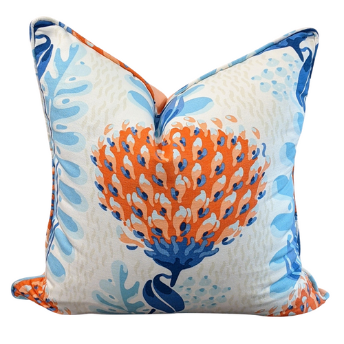 Floral Decorative Throw Pillow Cover 100/% Cotton Fabric Made to Order Thibaut GEORGETOWN in White