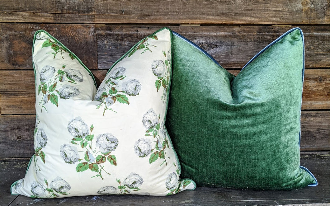 custom velvet pillows // green and blue // vienna