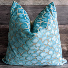 Load image into Gallery viewer, ready to ship // teal velvet animal print pillow // velvet pillow // swagger // blue pillow