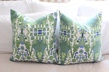 Load image into Gallery viewer, lacefield bombay // green blue // ikat pillow