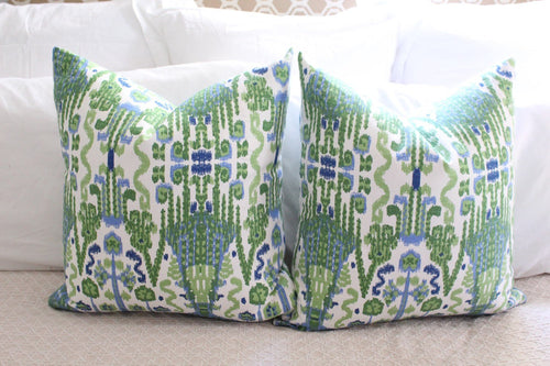 lacefield bombay // green blue // ikat pillow