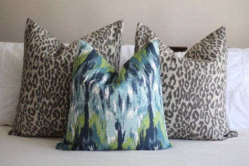 premier prints ikat craze // ikat pillow // watercolor