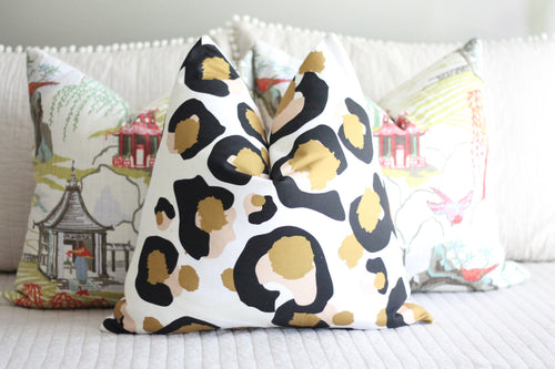 bright pillow cover // emily mccarthy fabric // cotton and quill // spot cheetah pillow cover