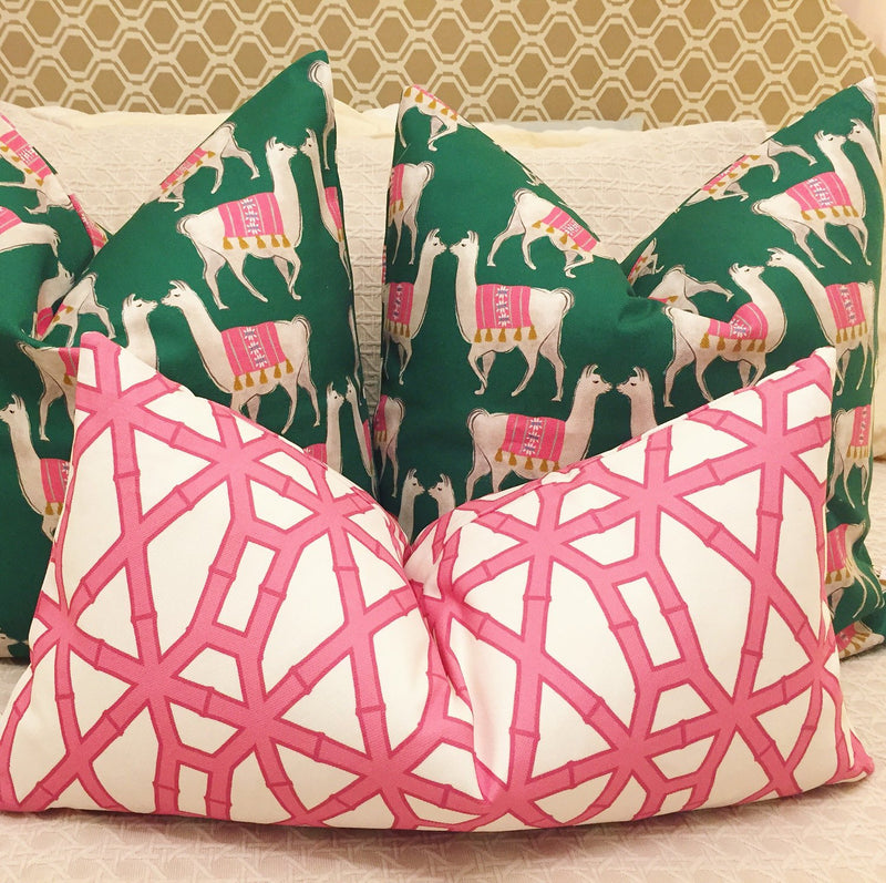 green bamboo print pillow cover // pink // cb studio