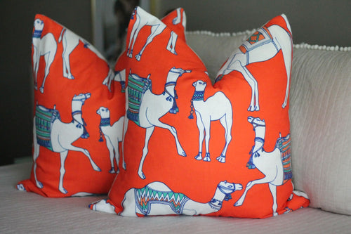 cotton & quill camel print pillow cover // asian inspired // chinoiserie // camel pillow