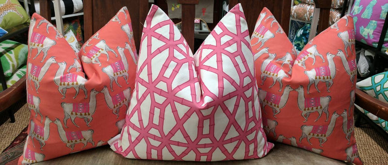 bamboo print pillow cover // pink // cb studio
