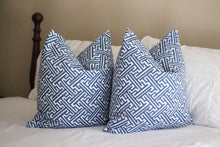 Load image into Gallery viewer, lacefield trellis print pillow cover // cobalt pillow cover // geometric print
