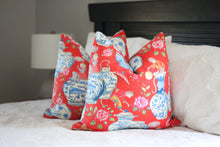 Load image into Gallery viewer, dena home chinoiserie design // monkey decor // ginger jar decor // red pillows
