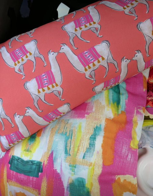 llama pillow cover // coral // animal print pillows // palm beach style // llama love // living coral