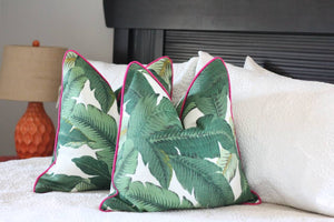 Banana leaf Palm print pillow cover // beverly hills hotel // outdoor fabric