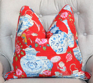 dena home chinoiserie design // monkey decor // ginger jar decor // chinoiserie pillows