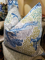 Trend dragon and pagoda print pillow covers // chinoiserie // asian inspired // designer pillows