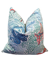 Load image into Gallery viewer, Trend dragon and pagoda print pillow covers // chinoiserie // asian inspired // designer pillows