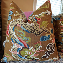Load image into Gallery viewer, Home Accent gold dragon pillow cover // dragon pillow // chinoiserie // asian inspired