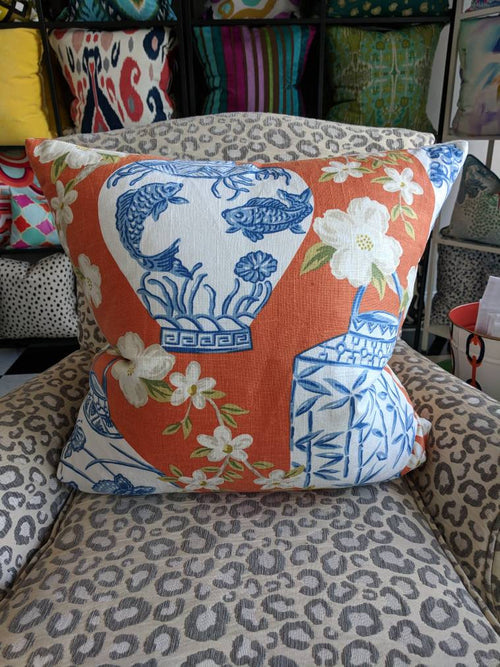 Jaclyn Smith blue ginger jar pillow cover // ginger jar decor // chinoiserie // 03710