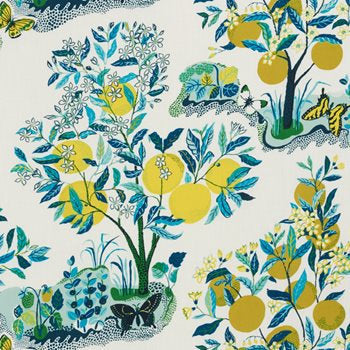 schumacher citrus garden // pillow with tape // designer prints