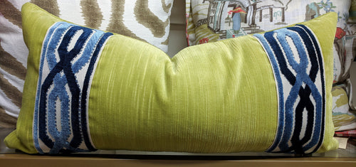 textured velvet pillow cover with contrast tape // velvet tape // velvet decor // chartreuse pillow // blue and green