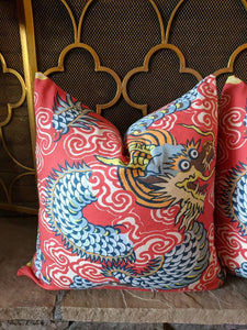 Red dragon pillow cover // chinoiserie // Asian inspired // chinoiserie chic