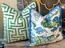 Load image into Gallery viewer, Ming trail thibaut // velvet pillows // Greek key pillows // chinoiserie decor