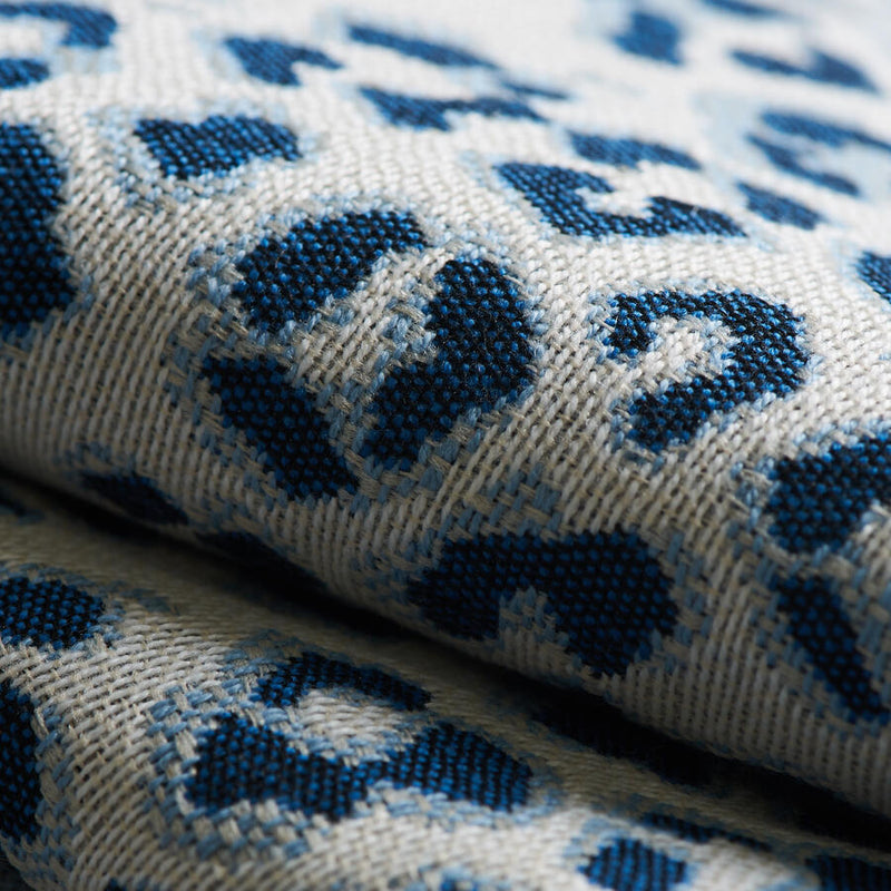 leopard print performance pillow covers // blue and white // 04752