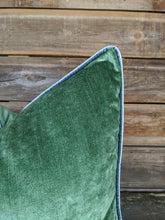 Load image into Gallery viewer, custom velvet pillows // green and blue // vienna