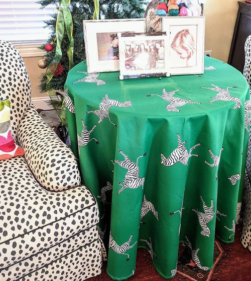 zebra skirted tablecloth // tablecloth