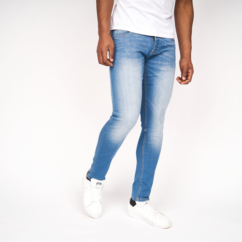 Dapple Slim Fit Ripped Jeans Light Wash