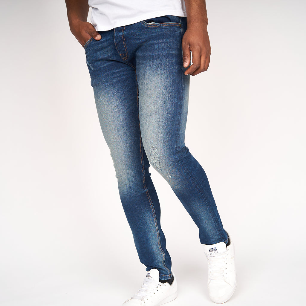 Dapple Slim Fit Ripped Jeans Tinted Blue