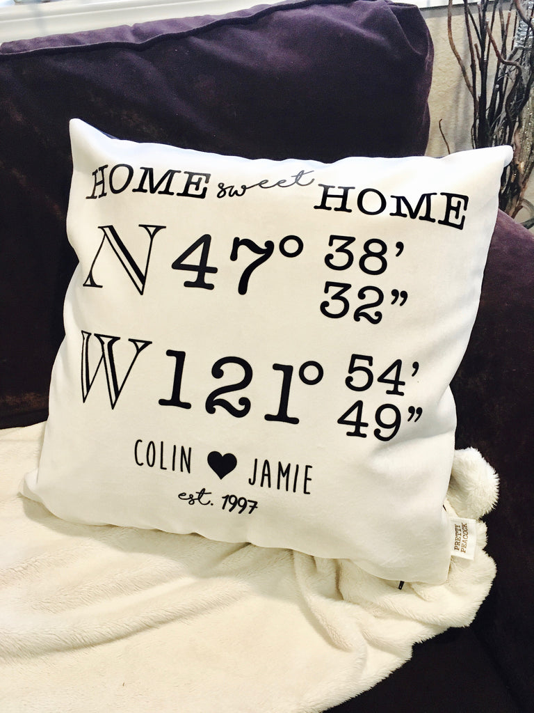 Personalized Latitude Longitude Throw Pillow for Couples
