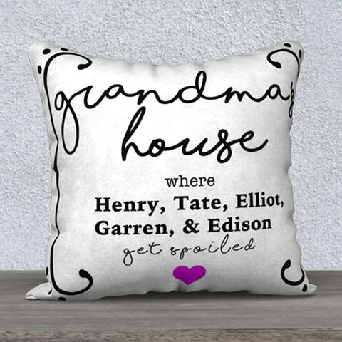 Personalized and Custom Grandma's House Decorative Pillow