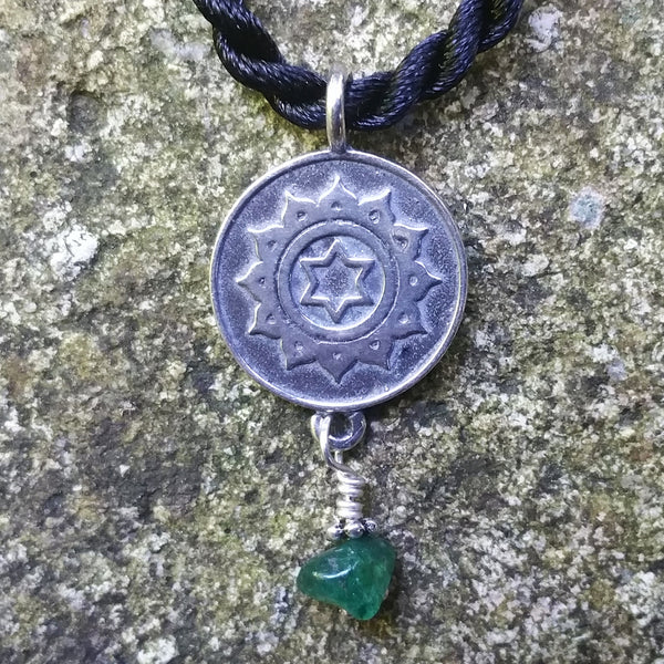 Heart Chakra Pendant in Sterling Silver with Aventurine Gemstone
