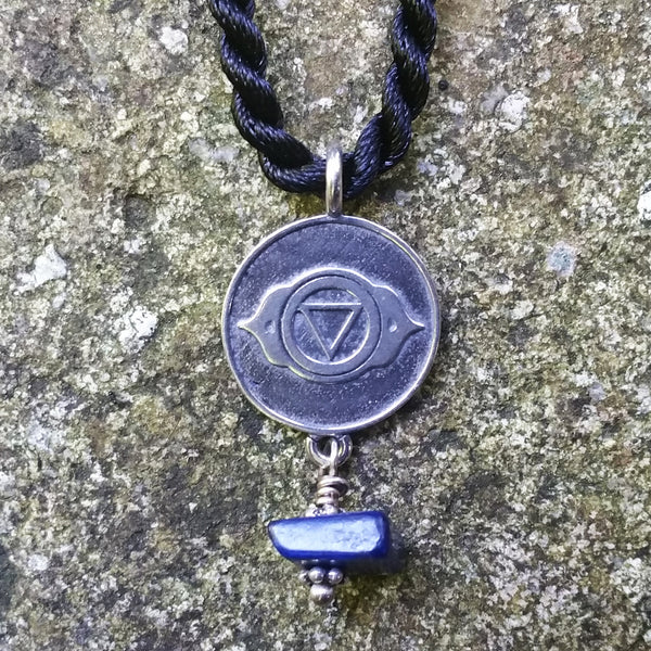 Third Eye Chakra Pendant in Sterling Silver with Lapis Lazuli gemstone