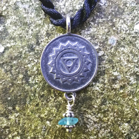Throat Chakra Pendant in Sterling Silver with Apatite Gemstone