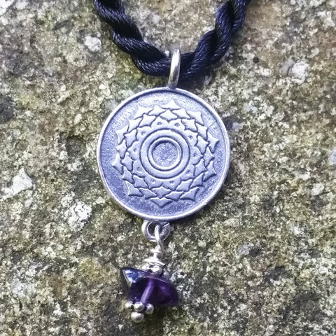 Crown Chakra Pendant in Sterling Silver with Amethyst Gemstone