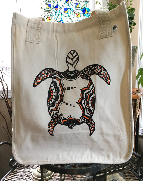 SALE TOTEM SEA TURTLE ORGANIC COTTON CANVAS TOTE BAG