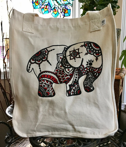 SALE TOTEM ELEPHANT ORGANIC COTTON CANVAS TOTE BAG
